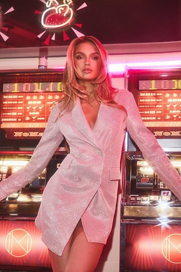 Womens Pink Sparkle Double Breasted Blazer Dress