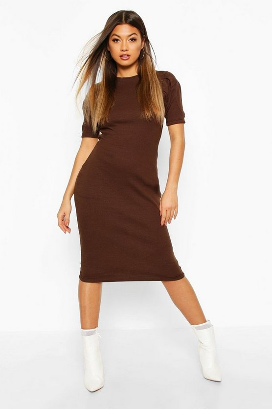 Womens Chocolate Rib Pleated Sleeve Midi Dress