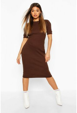 Chocolate Rib Pleated Sleeve Midi Dress