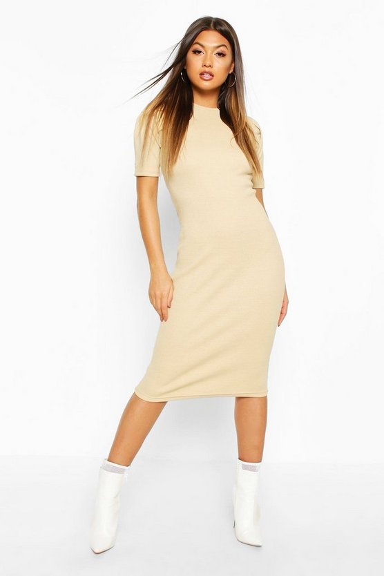 Stone Rib Pleated Sleeve Midi Dress