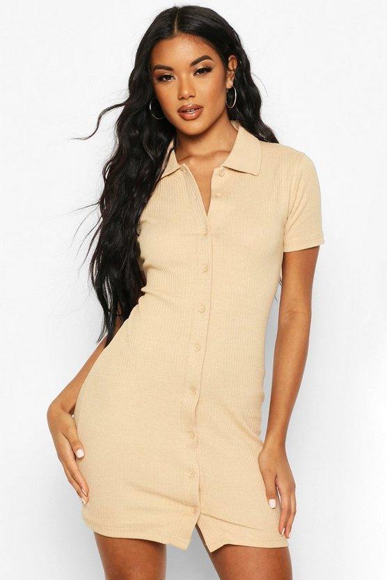 Rib Button Through T-Shirt Dress