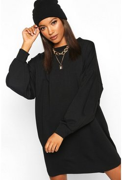 Black Gathered Drop Shoulder Sweat Dress