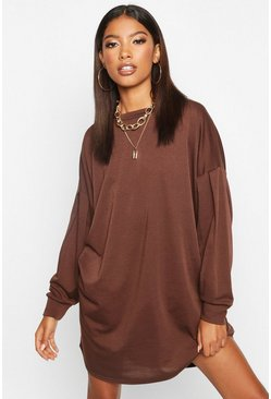 Gathered Drop Shoulder Sweat Dress, Chocolate, Donna