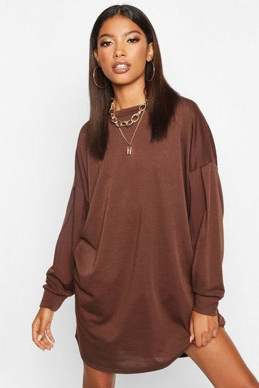 Womens Chocolate Gathered Drop Shoulder Sweat Dress