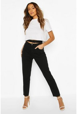 Black High Waist Double Waist Mom Jean