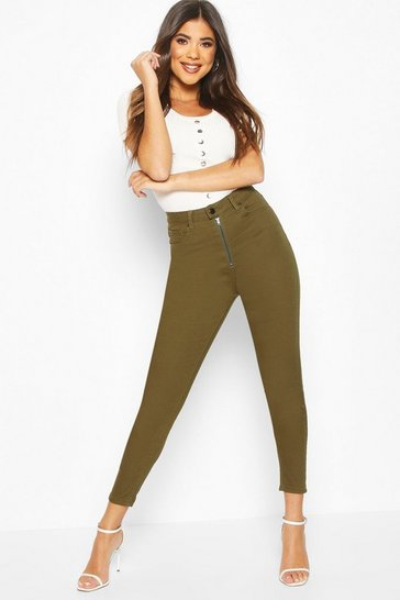 Khaki Exposed Zip High Waist Skinny Jean