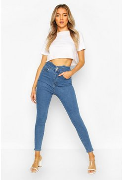 High Waist Ultra Stretch Skinny Jean, Mid blue