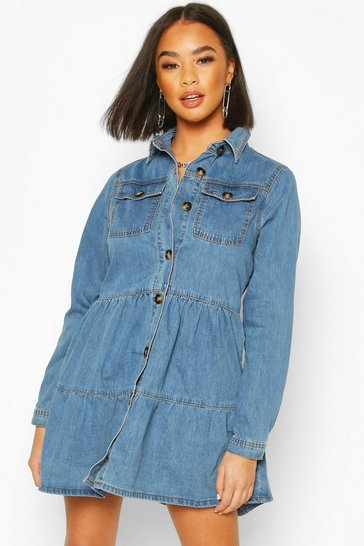 Indigo Long Sleeve Denim Smock Dress