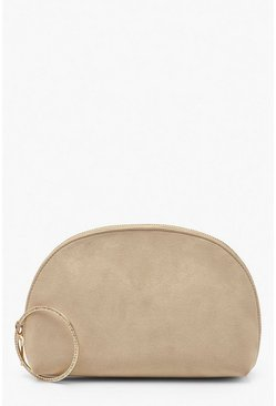Womens Beige Suedette Half Moon Clutch & Diamante Ring Bag