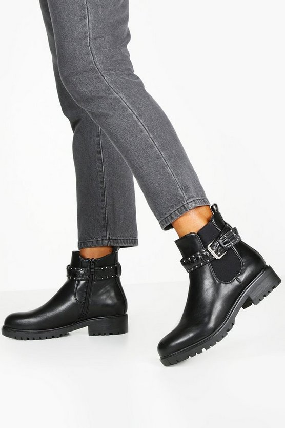Black Croc Buckle Strap Chunky Chelsea Boots