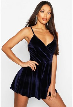 Navy Velvet Wrap Front Cami Playsuit