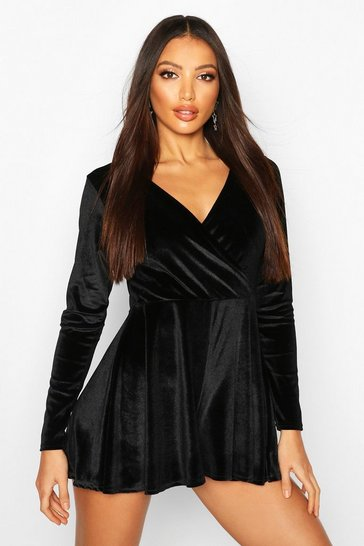 Womens Black Velvet Long Sleeve Playsuit