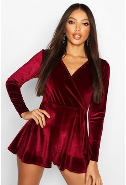 Womens Magenta Velvet Long Sleeve Playsuit
