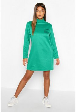 Womens Dark green Slogan Funnel Neck Long Sleeve Sweat Dress