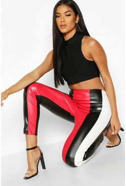 Womens Black Colour Block Faux Leather Legging