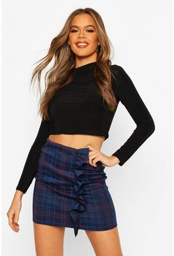 Dam Navy Check Ruffle Detail Mini Skirt