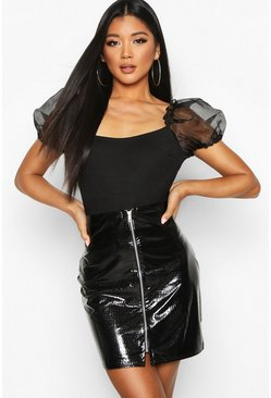 Black Embossed Croc Faux Leather Zip Mini Skirt