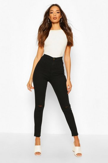 Black High Rise Rip Knee Disco Skinny Jean