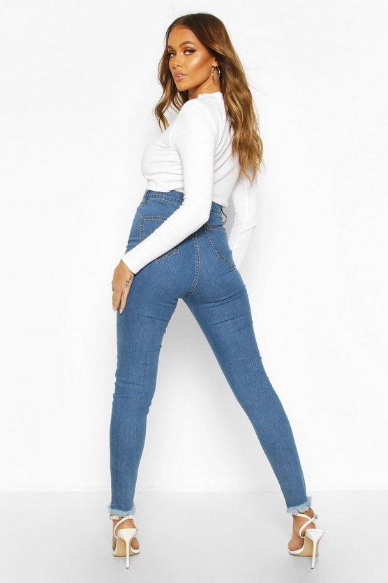 High Rise Frayed Hem Disco Skinny Jean