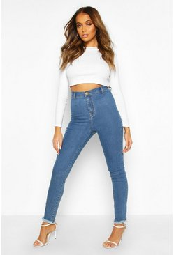 Womens Mid blue High Rise Frayed Hem Disco Skinny Jean