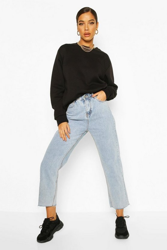 Button Waist Detail Washed Straight Leg Jean