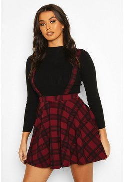 Tartan Check Pinafore Skirt, Berry