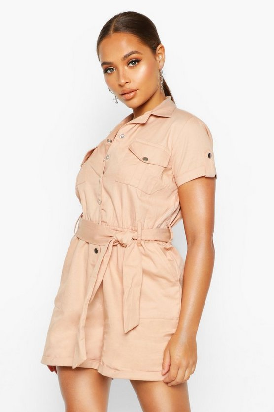 Blush Utility Pocket Woven Playsuit