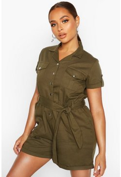 Womens Khaki Utility Pocket Woven Playsuit