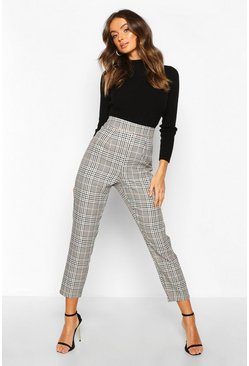 Womens Sand Tonal Check Slim Fit Trousers