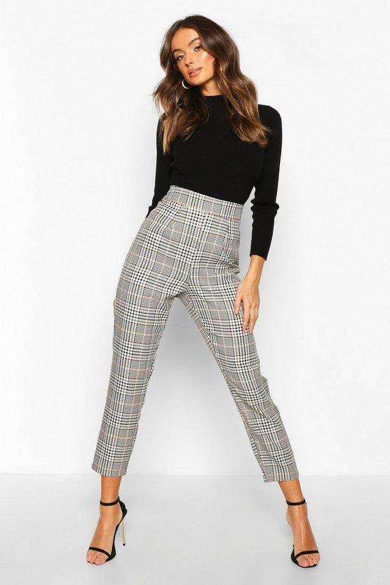 Tonal Check Slim Fit Trousers