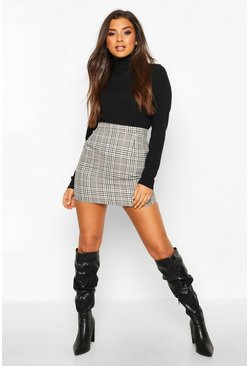 Dam Sand Tonal Check A Line Mini Skirt
