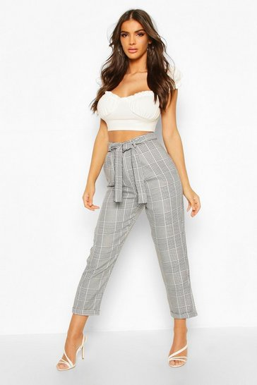 Womens Black Turn Up Dogtooth Check Slim Fit Trousers