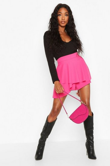 Womens Hot pink Double Layered Skort
