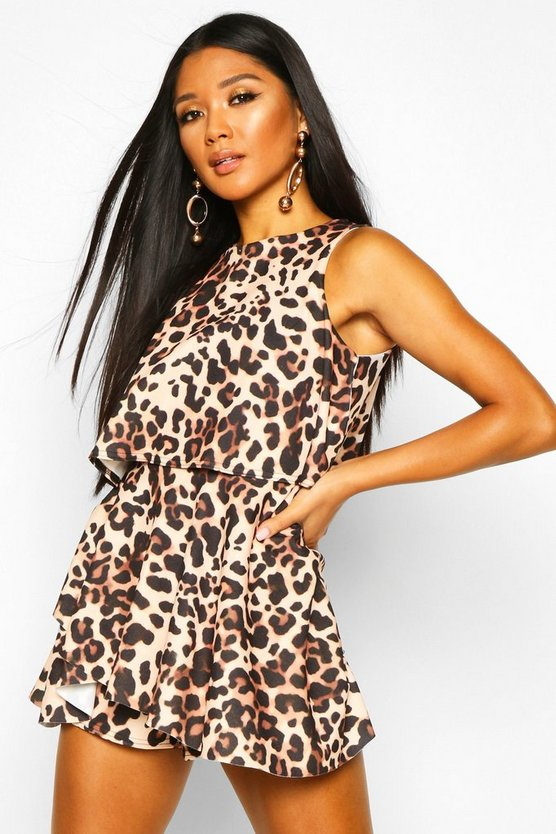 Brown Leopard Double Layer Playsuit Dress