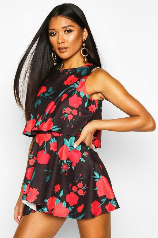 Womens Black Floral Double Layer Playsuit Dress