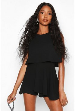 Womens Black Double Layer Playsuit Dress