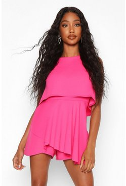 Doppellagiges Playsuit-Kleid, Rosa