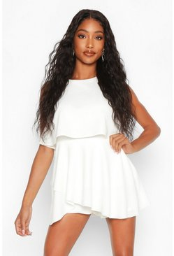 Womens White Double Layer Playsuit Dress