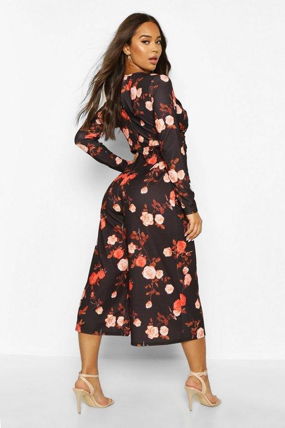 Wrap Front Floral Culotte Jumpsuit