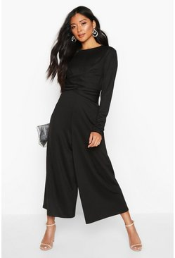 Wrap Front Culotte Jumpsuit, Black