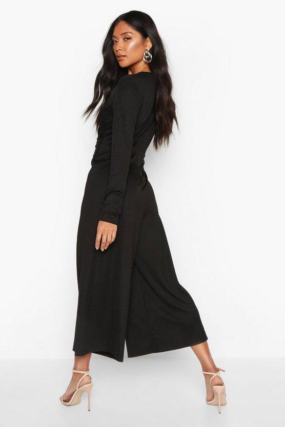 Wrap Front Culotte Jumpsuit