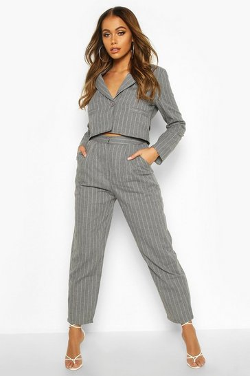 Womens Grey Pinstripe Tailored Trouser