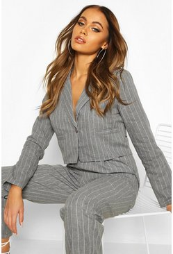 Womens Grey Crop Pinstripe Blazer