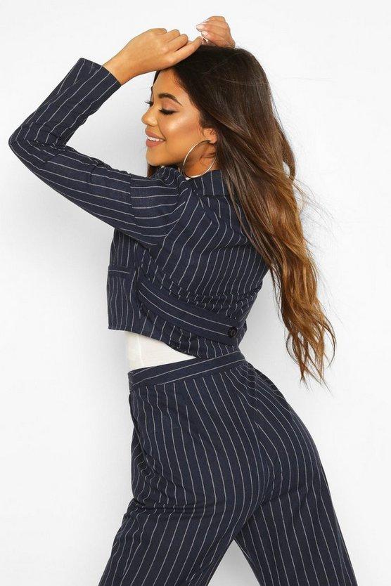Crop Pinstripe Blazer