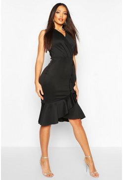 Black Ruffle Structured Scuba Dress