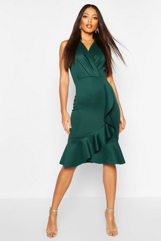 Ruffle Structured Scuba Dress