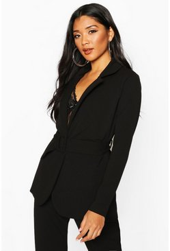 Womens Black Self Fabric Belt Tailored Blazer
