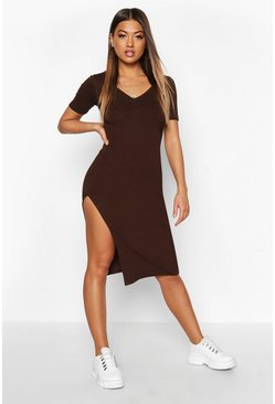 Dam Chocolate Rib Ruched Detail Split Midi Dress