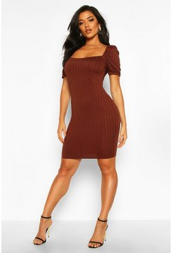 Rib Puff Sleeve Square Neck Mini Bodycon Dress, Chocolate, Donna