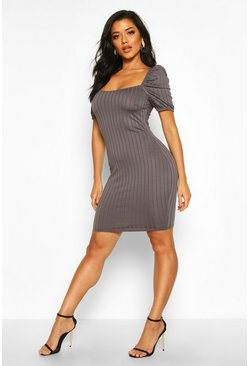 Gun metal Rib Puff Sleeve Square Neck Mini Bodycon Dress